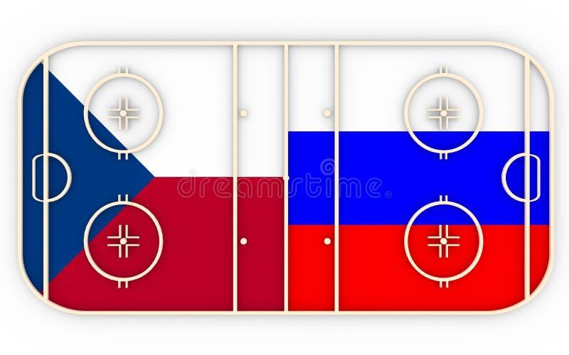 Czech vs Rosja Lodowego hokeja rywalizacja 2016 royalty ilustracja