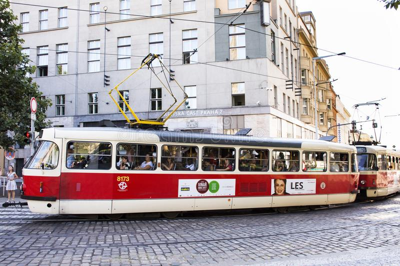 Czechia and foreigner travelers use retro tramway for journey in Prague, Czech Republic. Czechia and foreigner travelers use retro tramway for journey and people royalty free stock photography