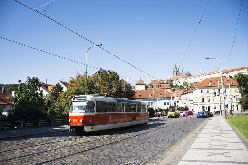 Czechia people and foreigner travelers use retro tramway in Prague, Czech Republic. Czechia people and foreigner travelers use retro tramway got to travel and stock photography