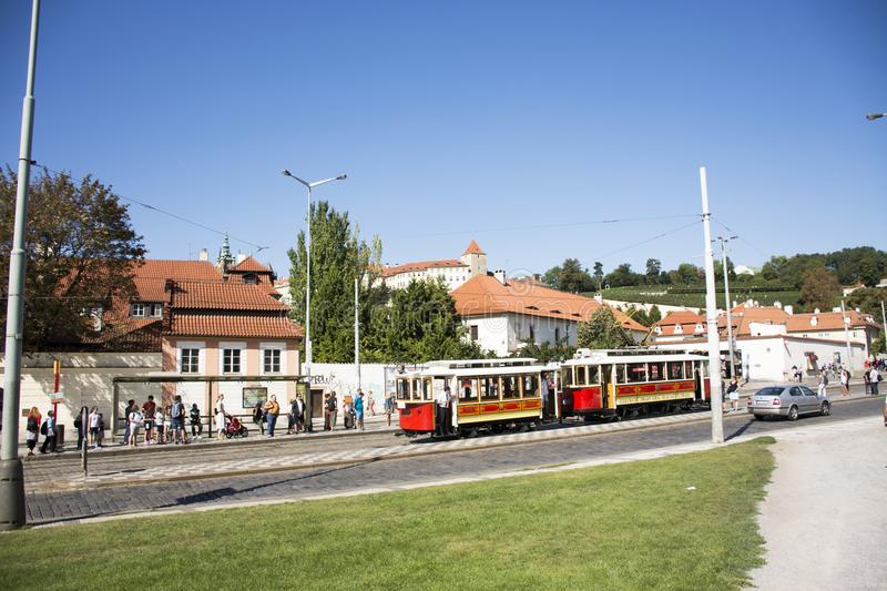 Czechia people and foreigner travelers use retro tramway in Prague, Czech Republic. Czechia people and foreigner travelers use retro tramway got to travel and stock image