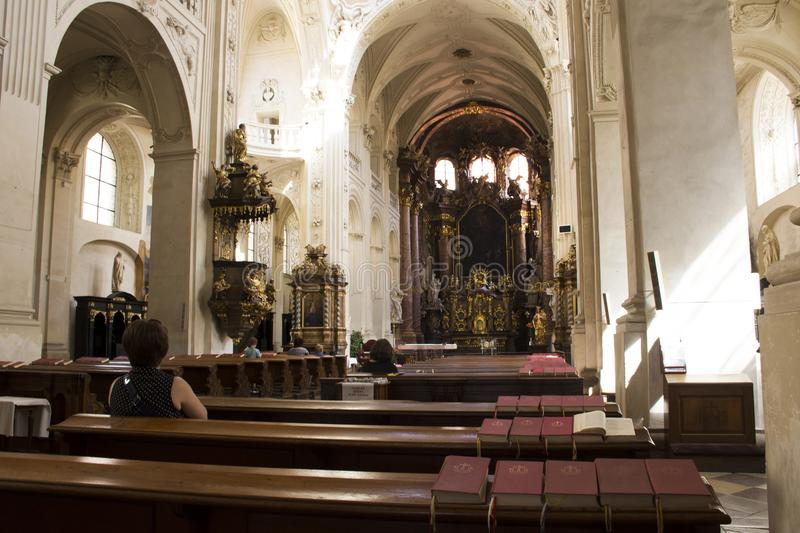 Czechia people and foreigner travelers visit and praying god at Church St Saviour or Salvator. Czechia people and foreigner travelers visit and praying god at stock images