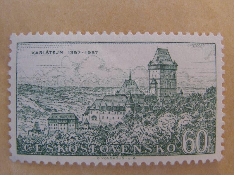 czecholosvakian karlstejnstämpel för slott royaltyfria bilder