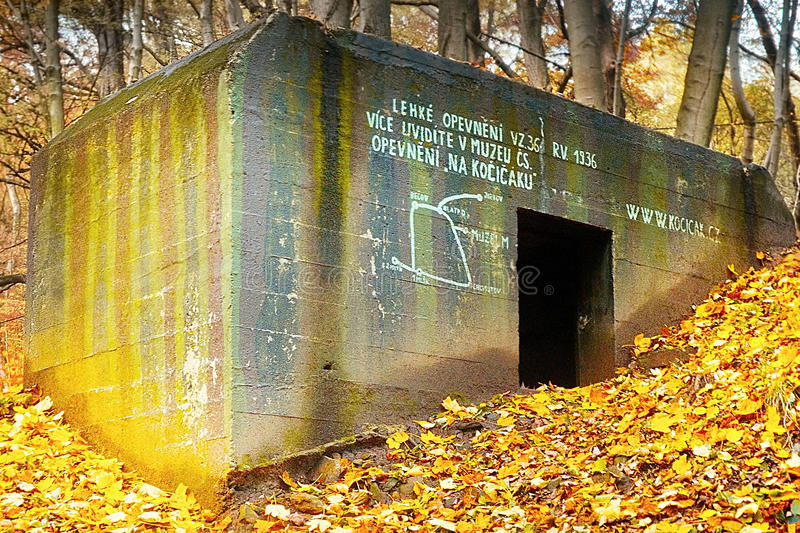 Czechoslovak light military fortification muster number 36 fron year 1936. In autumn stock photo