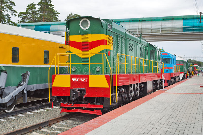 Czechoslovak shunting diesel locomotive with electric transmission. Novosibirsk Museum of railway equipment, Siberia, Russia. Novosibirsk Museum of railway stock images