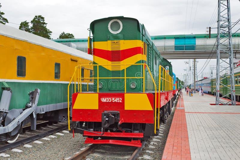 Czechoslovak shunting diesel locomotive with electric transmission. Novosibirsk Museum of railway equipment, Siberia, Russia. Novosibirsk Museum of railway stock photography