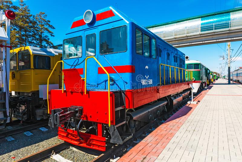 Czechoslovak shunting locomotive with electric transmission CHME2-508. Novosibirsk. Novosibirsk, Western Siberia, Russia-April 15, 2018: Czechoslovak shunting stock photos
