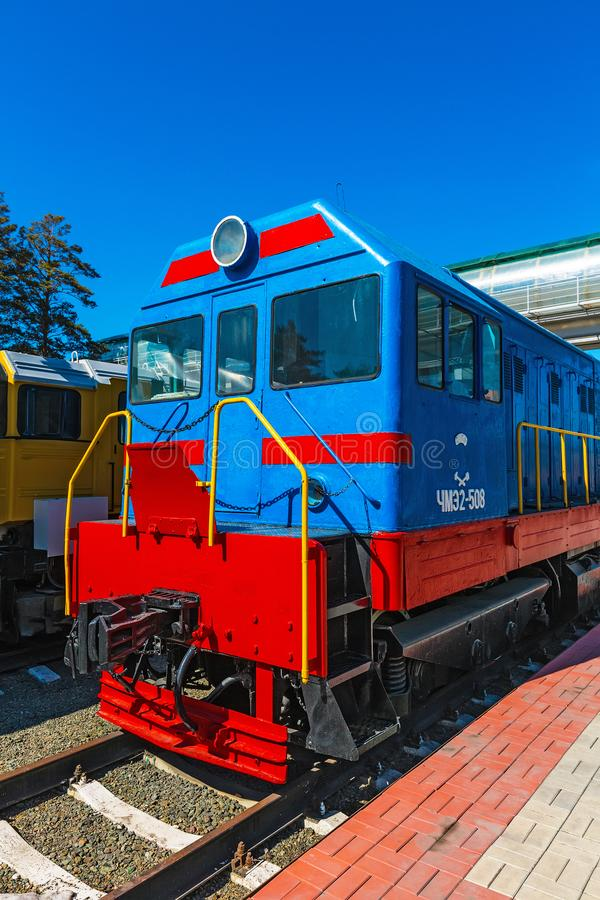 Czechoslovak shunting locomotive with electric transmission CHME2-508. Novosibirsk. Novosibirsk, Western Siberia, Russia-April 15, 2018: Czechoslovak shunting royalty free stock image