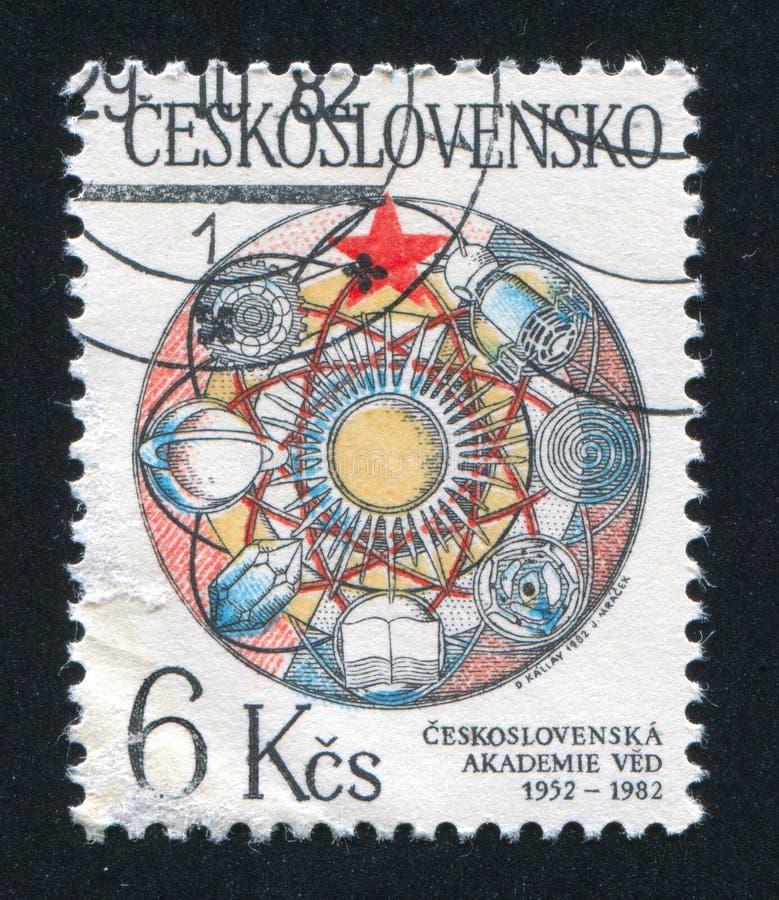 Anniversary of Academy of Sciences. CZECHOSLOVAKIA - CIRCA 1982: stamp printed by Czechoslovakia, shows 30th Anniversary of Academy of Sciences, circa 1982 stock photo