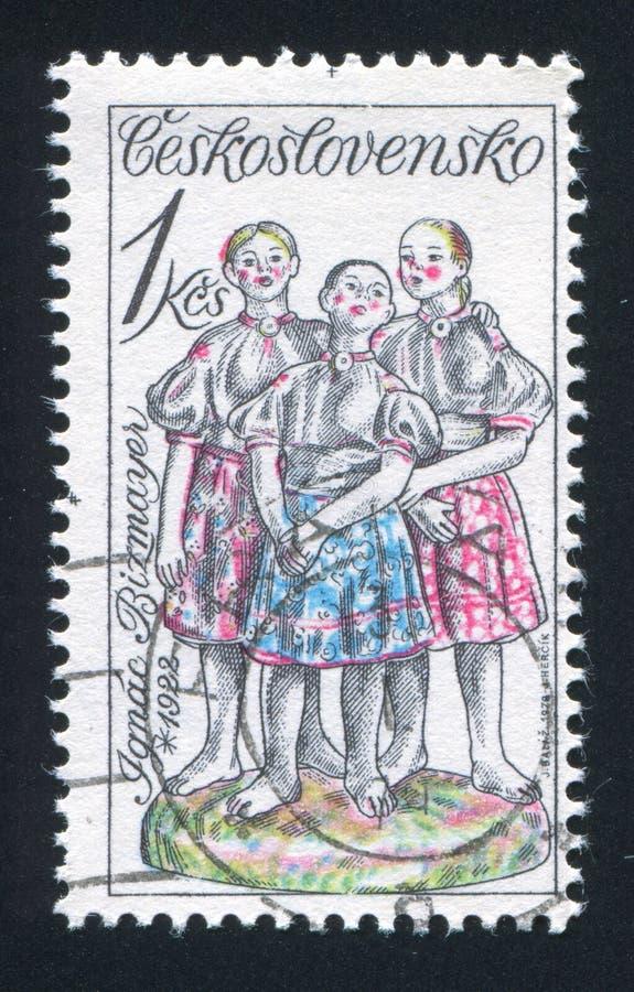 Ignac Bizmayer. CZECHOSLOVAKIA - CIRCA 1978: stamp printed by Czechoslovakia, shows Three Girls Singing, by Ignac Bizmayer, circa 1978 royalty free stock photography