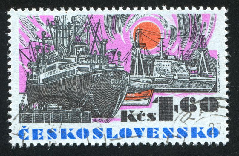 "Czechoslovakia. CIRCA 1972: stamp printed by , shows Czechoslovak sea-going vessel ""Dukla"", circa 1972 stock photo"