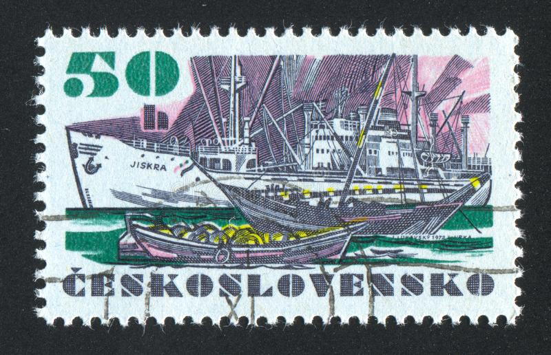 "Czechoslovakia. CIRCA 1972: stamp printed by , shows Czechoslovak sea-going vessel ""Jiskra"", circa 1972 royalty free stock photography"