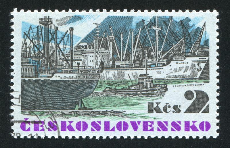 "Czechoslovakia. CIRCA 1972: stamp printed by , shows Czechoslovak sea-going vessel ""Kladno"", circa 1972 stock photo"