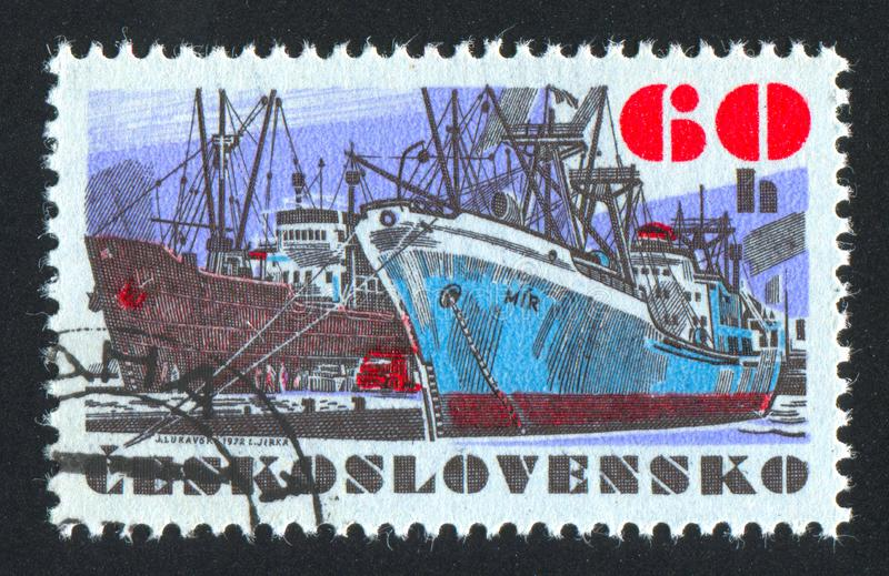 "Czechoslovakia. CIRCA 1972: stamp printed by , shows Czechoslovak sea-going vessel ""Mir"", circa 1972 stock image"