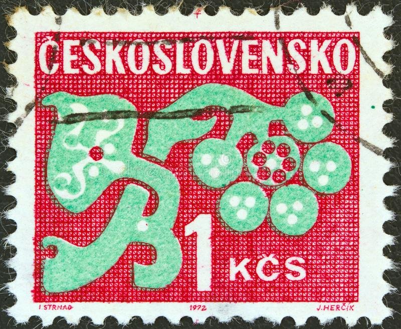 CZECHOSLOVAKIA - CIRCA 1971: A stamp printed in Czechoslovakia shows a stylized plant, circa 1971. CZECHOSLOVAKIA - CIRCA 1971: A stamp printed in royalty free stock image