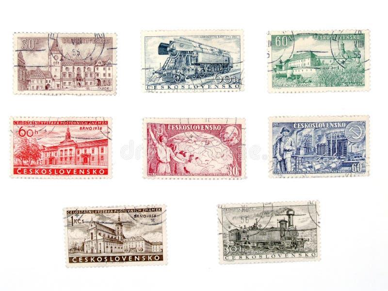 czechoslovakia gammala portostämplar arkivfoto