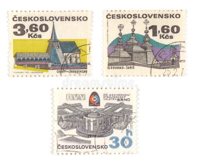 czechoslovakia gammala stämplar fotografering för bildbyråer