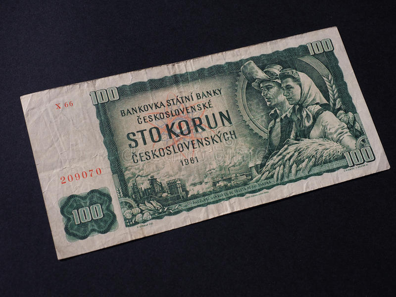 Czechoslovakia money. Czechoslovakian money, withdrawn when Czechoslovakia split in 1993 royalty free stock photography