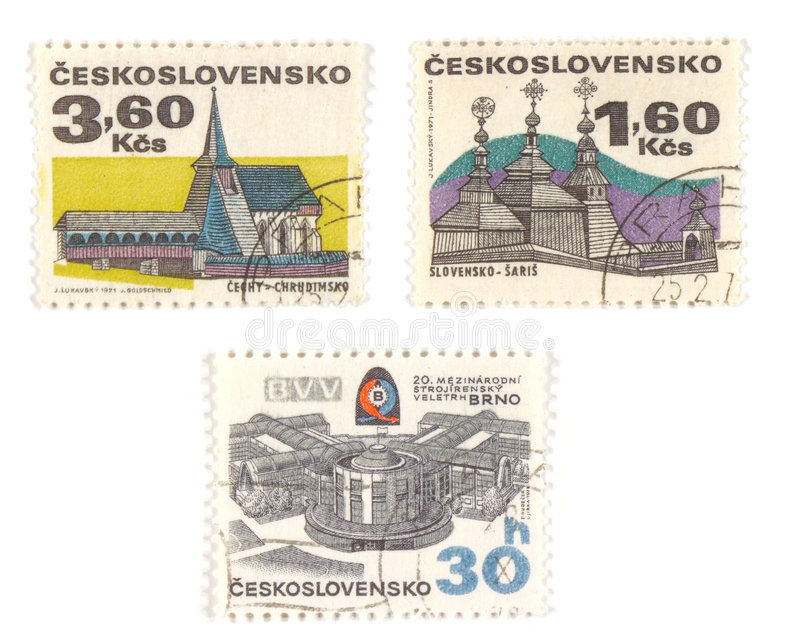 Czechoslovakia old stamps. Collectible stamps from Czechoslovakia. Set with old churches and modern BVV center in Brno stock image