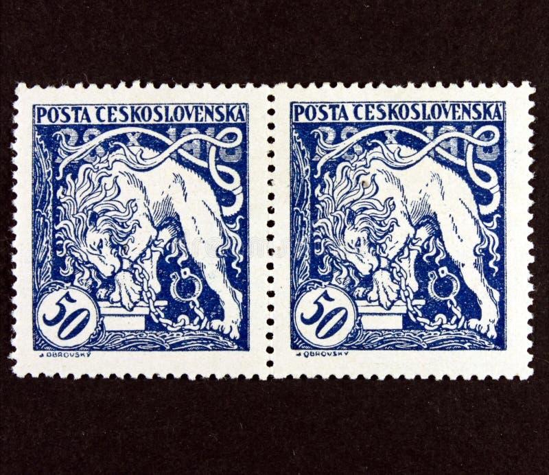 Czechoslovakia portostämpel arkivbilder