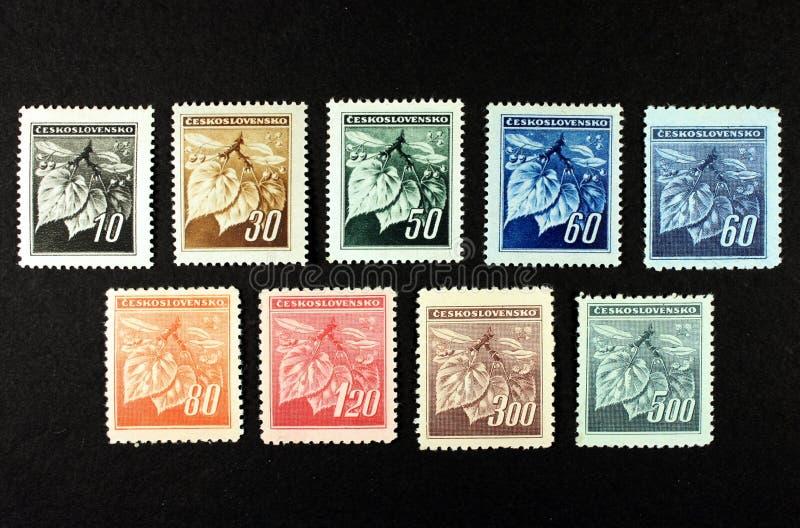 Czechoslovakia portostämpel arkivfoton