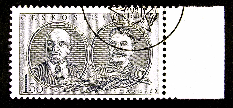 Czechoslovakia portostämpel royaltyfri fotografi