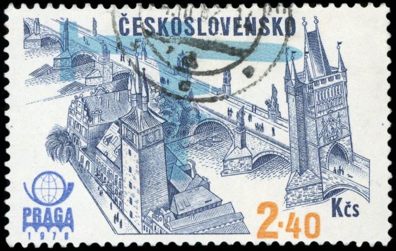 czechoslovakia portostämpel fotografering för bildbyråer