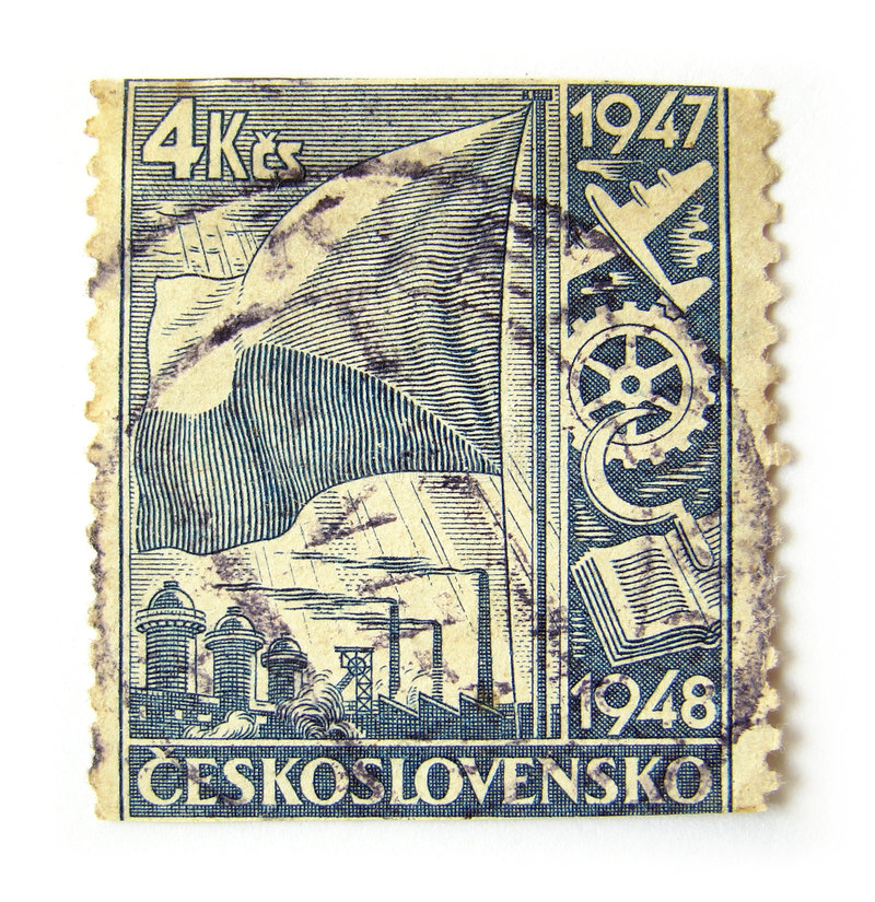 Czechoslovakia Postage Stamp. Old postage stamp from Czechoslovakia stock images