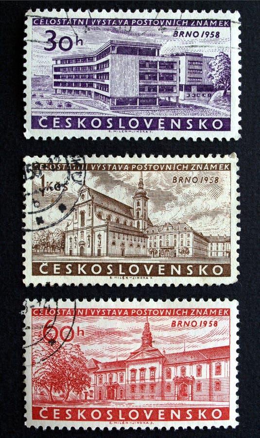czechoslovakia stämplar arkivfoton