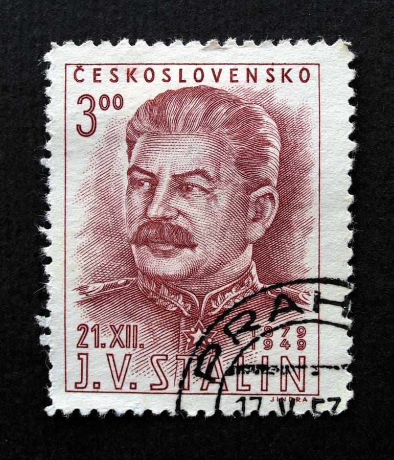 czechoslovakia stalin stämpel royaltyfri fotografi