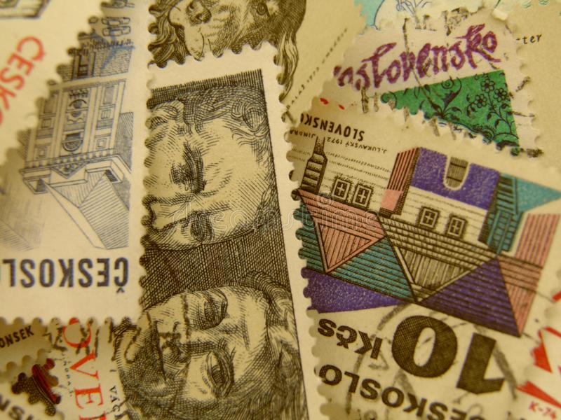 Czechoslovakian Stamps Royalty Free Stock Photos