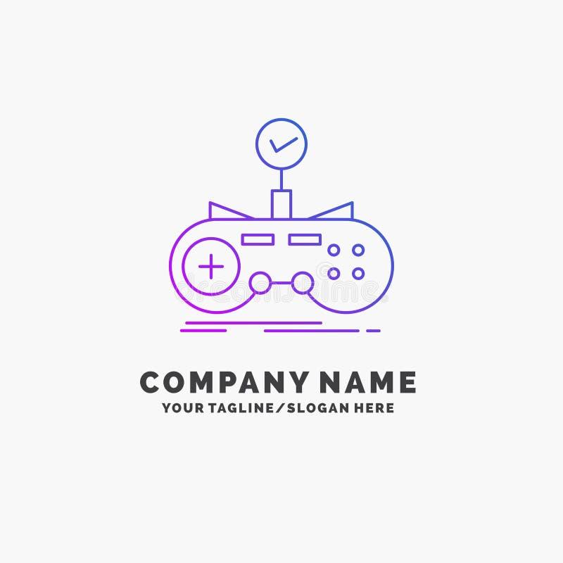 Czek, kontroler, gra, gamepad, hazardu logo Purpurowy Biznesowy szablon Miejsce dla Tagline ilustracji