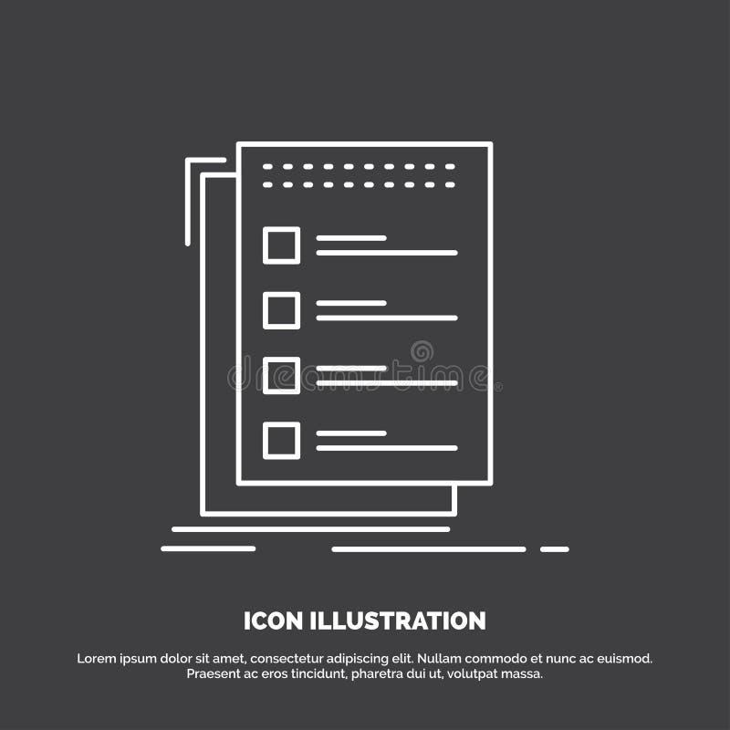 Czek, lista kontrolna, lista, zadanie robi? ikonie, Kreskowy wektorowy symbol dla UI, UX, strona internetowa i wisz?cej ozdoby za ilustracja wektor