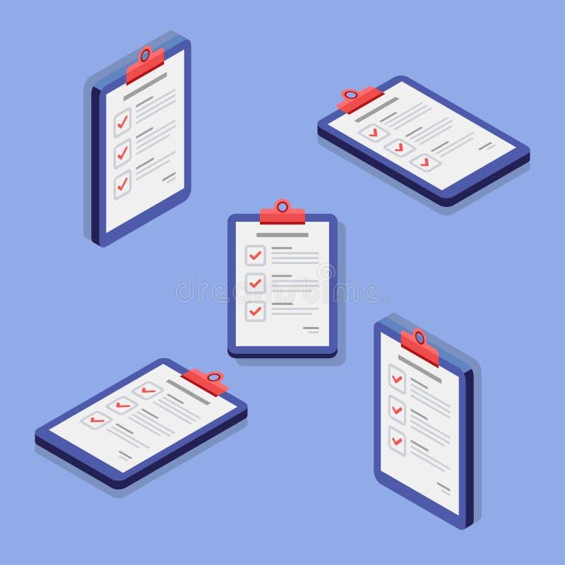 Czek lista, schowek, dokument, finanse, biznes, Isometric, Odosobniona, ilustracyjna, Wektorowa, Płaska ikona, ilustracji
