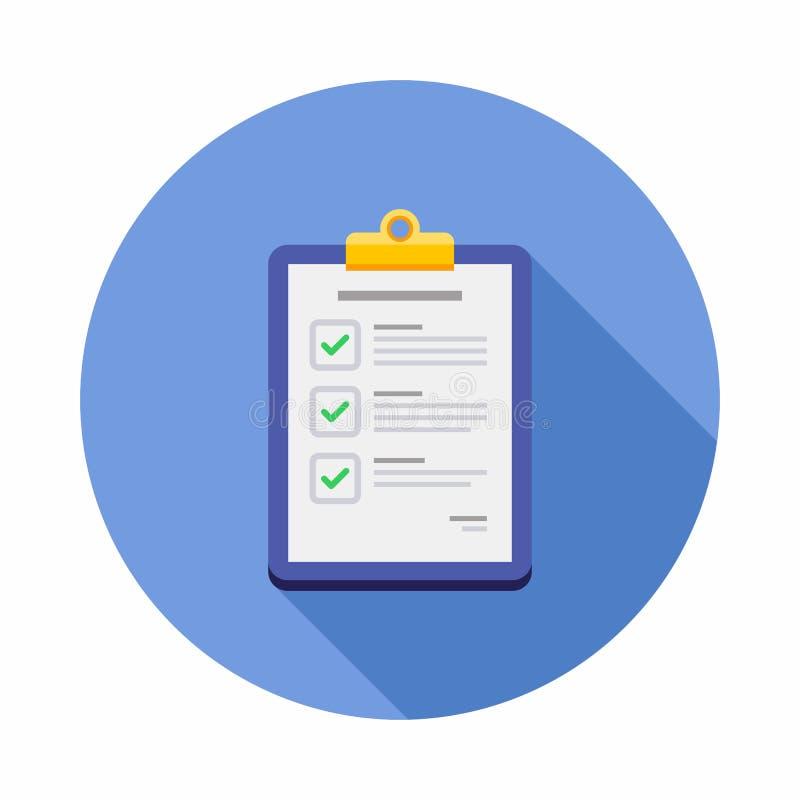 Czek lista, schowek, dokument, finanse, biznes, Odizolowywający, ilustracja, wektor, Płaska ikona ilustracja wektor