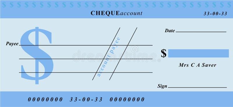 czek na $ ilustracja wektor