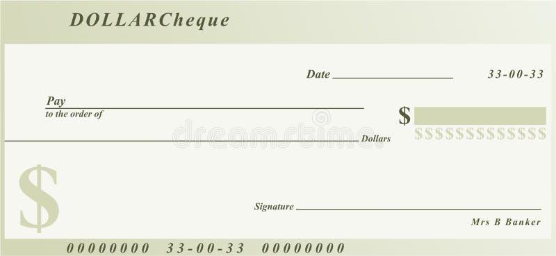 czek na $ ilustracji