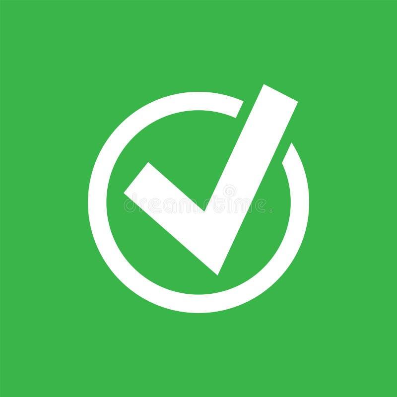 Czek oceny ikona w okręgu odizolowywającym na zielonym tle również zwrócić corel ilustracji wektora ilustracji