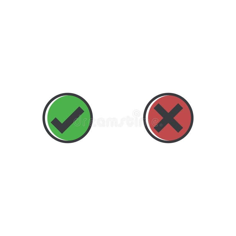 Czek oceny ikona Zatwierdza symbol dla projekta projekta i odwoływa Płaski guzik tak, nie i bardzo dobrze Appove i odwoływa ilustracja wektor