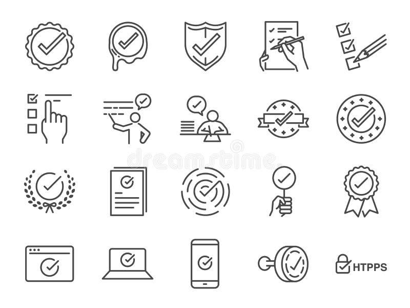 Czek oceny ikony set Zawrzeć ikony poprawne jak, potwierdza, weryfikować, świadectwo, zatwierdzenie, akceptujący, czek lista i wi royalty ilustracja