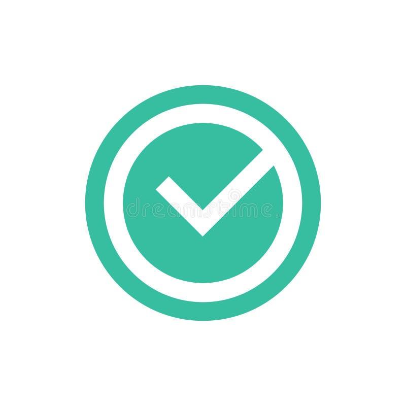 Czek oceny wektorowa ikona, zatwierdzony ok symbol Zielonego kleszczowego checkbox wektorowa ilustracja odizolowywająca na białym ilustracja wektor