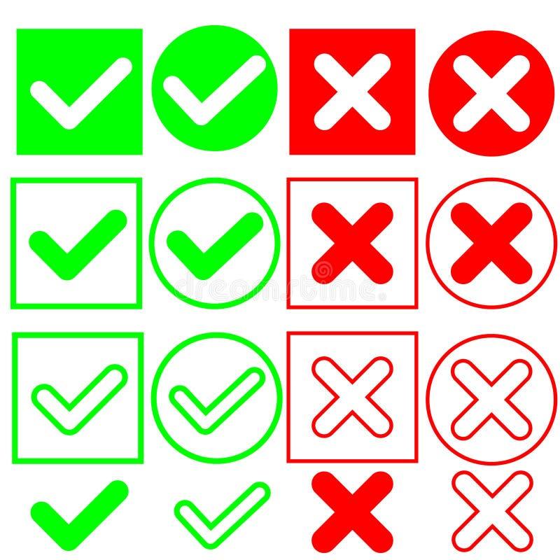 Czek oceny wektorowa ikona, zielona czek ocena i czerwony krzy? ilustracja, ilustracja wektor