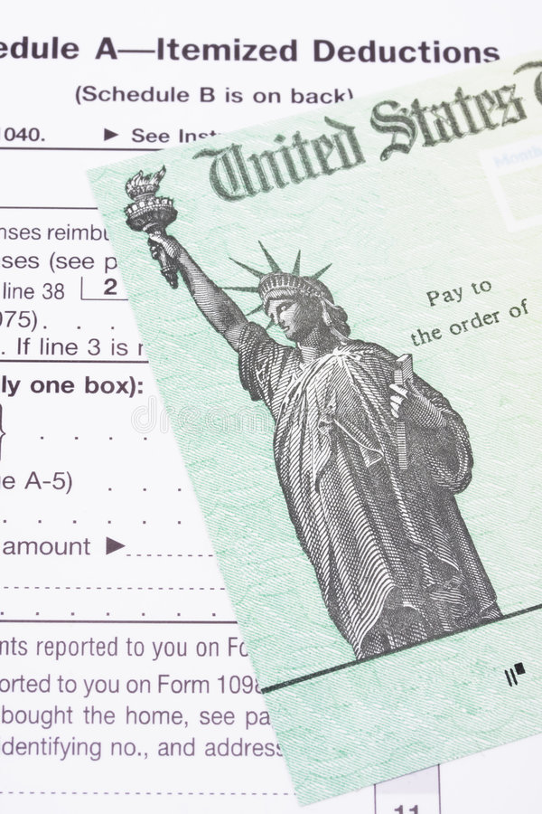 czek zwrotu podatku obrazy stock