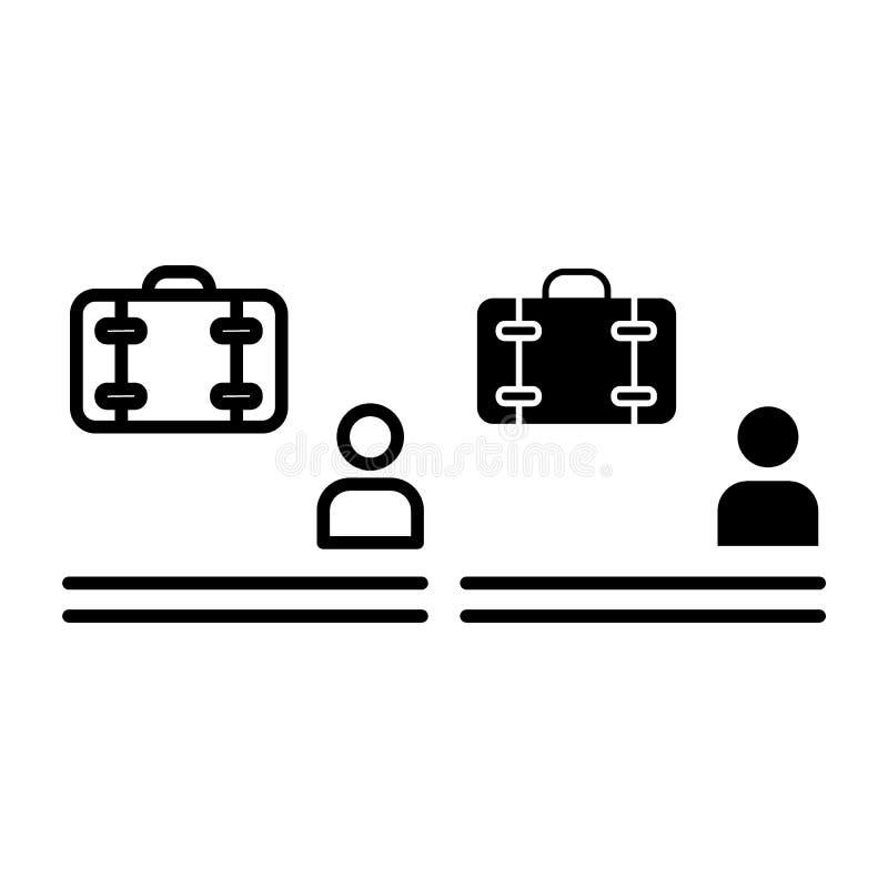 Czekać bagaż linię i glif ikonę Mężczyzna i bagażu wektorowa ilustracja odizolowywająca na bielu Osoba i walizka royalty ilustracja