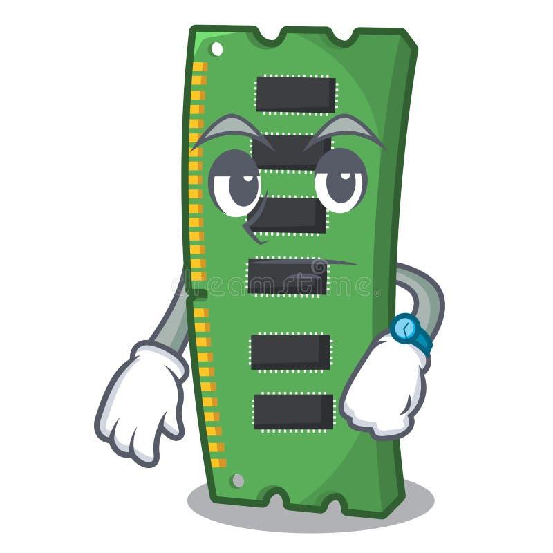 Czeka? RAM kart? pami?ci nad kresk?wka st?? royalty ilustracja