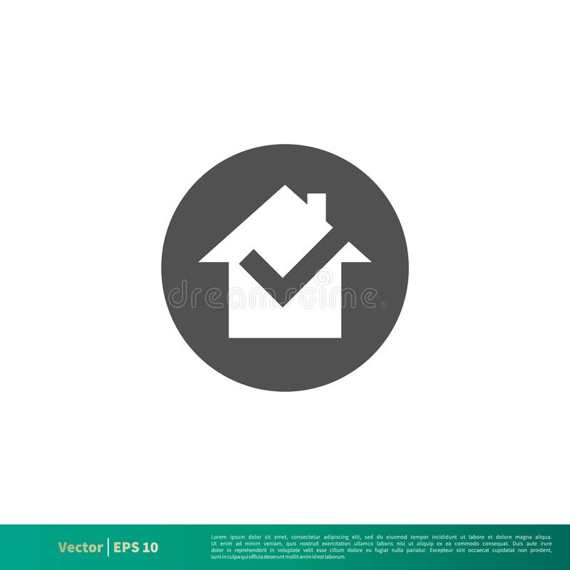 Czeka Mark domu ikony logo Wektorowego szablonu Ilustracyjny projekt Wektor EPS 10 royalty ilustracja
