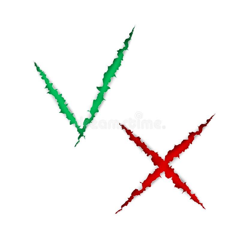 Czeka pudełka listy ikony cykają i krzyżują, zieleń i czerwone oceny są rozdzierać papierowe poszarpane z odosobnionego na białym royalty ilustracja