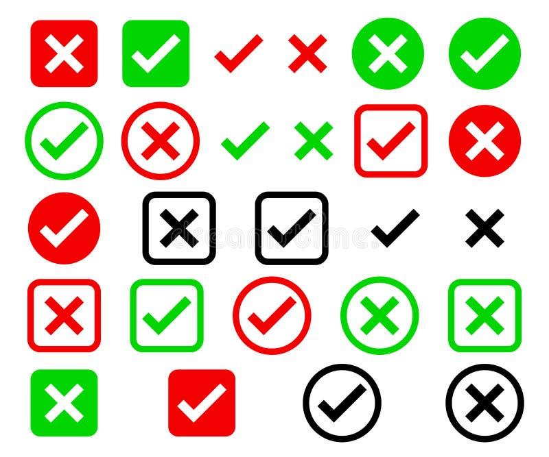Czeka pudełka listy ikony ustawiać, zieleń, czerwony i czarny, odosobniony na białym tle, wektorowa ilustracja ilustracji
