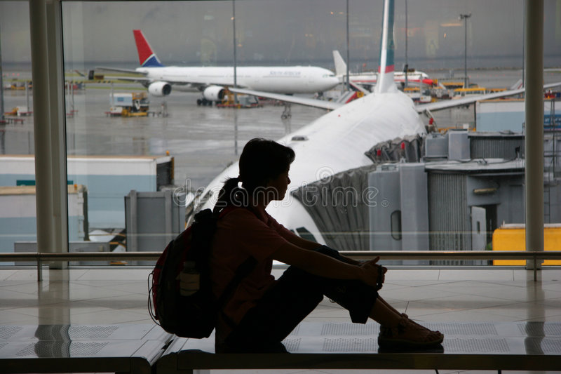 czekaj na lotnisku obrazy royalty free