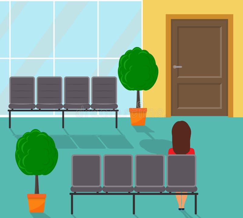 Czekanie sala w niektóre budynku biurowym korytarz Kobiety obsiadanie w krześle, czekanie Krzesła i dekoracyjni drzewa w garnkach ilustracja wektor