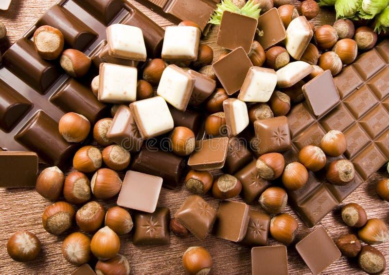 czekoladę orzechy fotografia royalty free